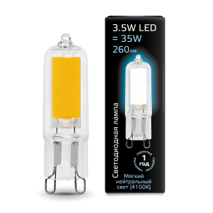 Лампа Gauss LED G9 AC220-240V 3.5W 260lm 4100K Glass 1/10/200