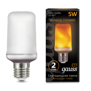 Лампа Gauss LED T65 Flame 5W E27 20-80lm 1500K 1/10/100