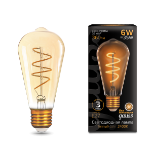 Лампа Gauss LED Filament ST64 Flexible E27 6W Golden 360lm 2400К 1/10/40