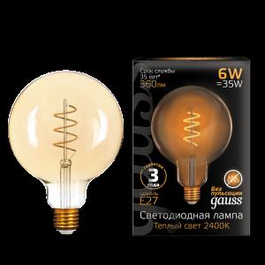 Лампа Gauss LED Filament G120 Flexible E27 6W Golden 360lm 2400К 1/20