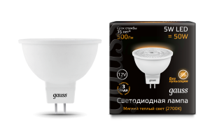 Лампа Gauss LED MR16 GU5.3 5W 12V 500lm 2700K 1/10/100