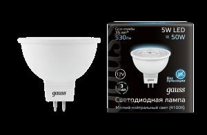 Лампа Gauss LED MR16 GU5.3 5W 12V 530lm 4100K 1/10/100