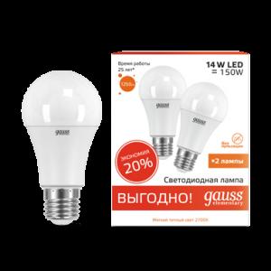 Лампа Gauss LED Elementary A60 14W E27 2700K 1/50 (2 лампы в упаковке)