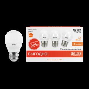 Лампа Gauss LED Elementary Шар 6W E27 2700K 1/40 (3 лампы в упаковке)