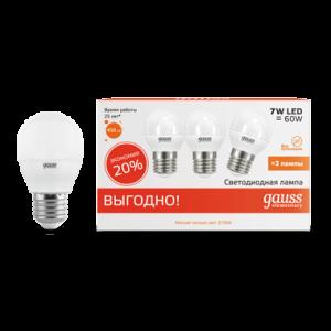 Лампа Gauss LED Elementary Шар 7W E27 2700K 1/40 (3 лампы в упаковке)