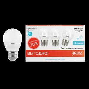 Лампа Gauss LED Elementary Шар 7W E27 4100K 1/40 (3 лампы в упаковке)