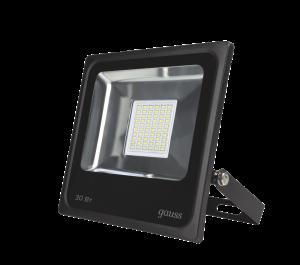 Прожектор светодиодный Gauss LED 30W 2100lm IP65 6500К черный 1/60