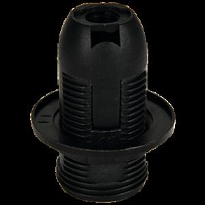 Ecola base Патрон  с кольцом E14 Черный(1 из ч/б уп. по 10)