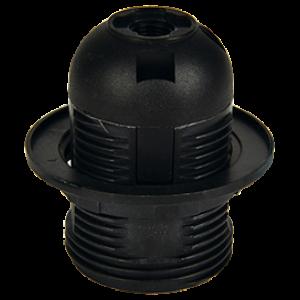 Ecola base Патрон  с кольцом E27 Черный(1 из ч/б уп. по 10)