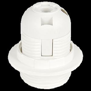 Ecola base Патрон  с кольцом E27 Белый(1 из ч/б уп. по 10)