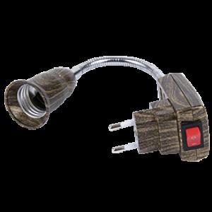 Ecola base Переходник вилка-патрон E27 гибкий 150мм c выключателем Черненая бронза
