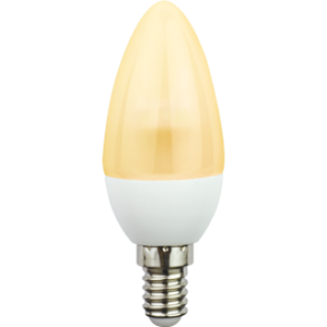 Ecola candle   LED  4,2W 220V E14 золотистая полуматовая свеча искристая пирамида (композит) 98x36