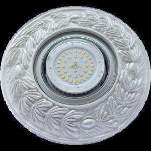 """Ecola накладка широкая гипсовая """"оливковый венок"""" для встр. свет-ка GX53 H4 серебро на белом 23х195"""
