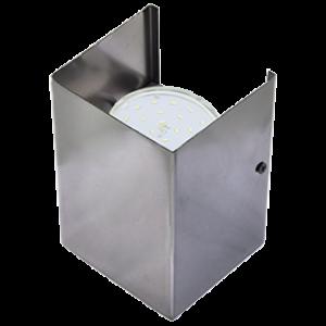 Ecola GX53-N52 светильник настенный бра прямоугольный черный хром 2* GX53 100х140х90 (1 из цв. уп. по 2)