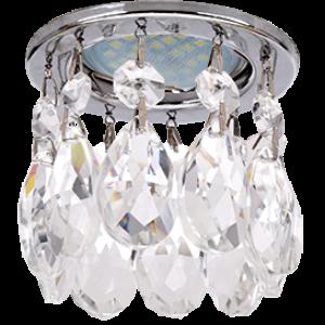 Ecola MR16 CR1006 GU5.3 Glass Стекло Круг с каплевидными хруст. на прямом подвесе Прозрачный / Хром 84x100
