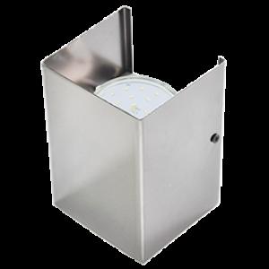 Ecola GX53-N52 светильник настенный бра прямоугольный хром 2* GX53 100х140х90 (1 из цв. уп. по 2)