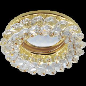 Ecola MR16 CD4141 GU5.3 Светильник встр. круглый с хрусталиками Прозрачный/Золото 50x90 (кd74)