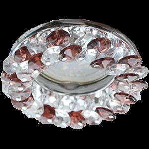 Ecola Light MR16 CD4141 GU5.3 Светильник встр. круглый с хрусталиками Прозрачный и Дымчатый кварц/Хром 50x90 (кd74)
