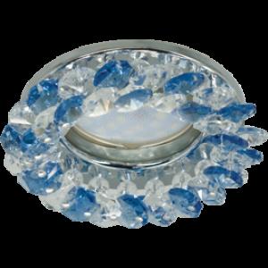 Ecola MR16 CD4141 GU5.3 Светильник встр. круглый с хрусталиками Прозрачный и Голубой/Хром 50x90 (кd74)