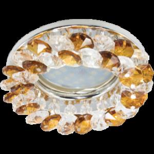 Ecola MR16 CD4141 GU5.3 Светильник встр. круглый с хрусталиками Прозрачный и Янтарь/Хром 50x90 (кd74)