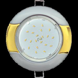 "Ecola GX53 H4 9012 светильник встраив. без рефл. ""Волна"" серебро-золото 38x116 (к+)"