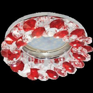 Ecola MR16 CD4141 GU5.3 Светильник встр. круглый с хрусталиками Прозрачный и Рубин/Хром 50x90 (кd74)