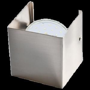 Ecola GX53-N51 светильник настенный бра прямоугольный сатин-хром 1* GX53 100х100х90 (1 из цв. уп. по 2)