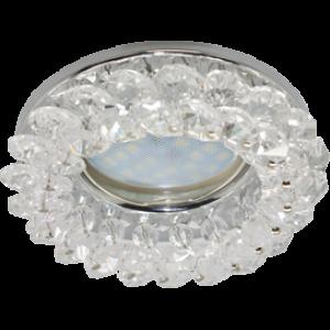 Ecola Light MR16 CD4141 GU5.3 Светильник встр. круглый с хрусталиками Прозрачный/Хром 50x90 (кd74)