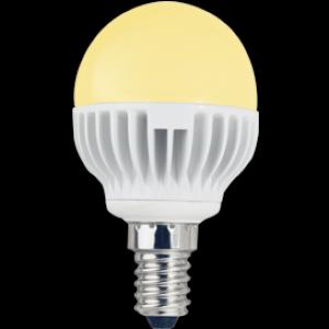Ecola globe   LED  5,4W G45 220V E14 золотистый шар (ребристый алюм. радиатор) 81x45