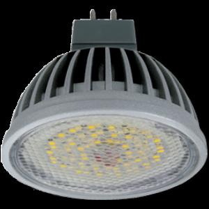 Ecola MR16   LED  5,4W 220V GU5.3 6000K прозрачное стекло (ребристый алюм. радиатор) 47x50