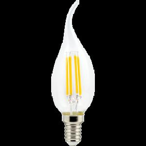 Ecola candle   LED  5,0W  220V E14 2700K 360° filament прозр. нитевидная свеча на ветру (Ra 80, 100 Lm/W) 125х37
