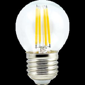 Ecola globe   LED  5,0W G45 220V E27 2700K 360° filament прозр. нитевидный шар (Ra 80, 100 Lm/W) 68х45