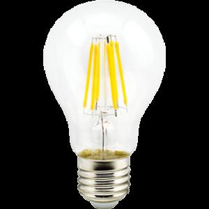 Ecola classic   LED Premium  8,0W A60 220-240V E27 2700K 360° filament прозр. нитевидная (Ra 80, 100 Lm/W, КП=0) 105x60
