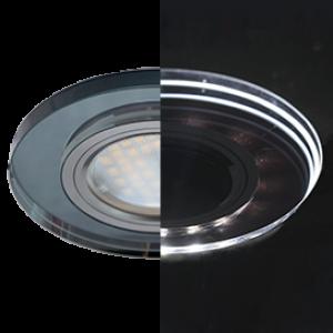 Ecola MR16 LD1650 GU5.3 Glass Стекло с подсветкой Круг Черный / Черный хром 25x95 (кd74)