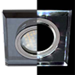 Ecola MR16 LD1651 GU5.3 Glass Стекло с подсветкой Квадрат скошенный край Черный / Черный хром 25x90x90 (кd74)