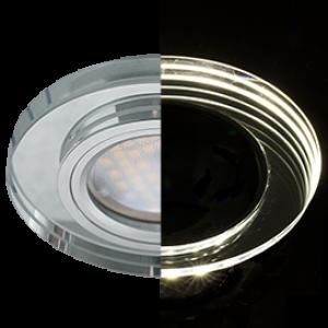 Ecola MR16 LD1650 GU5.3 Glass Стекло с подсветкой Круг Хром / Хром 25x95 (кd74)