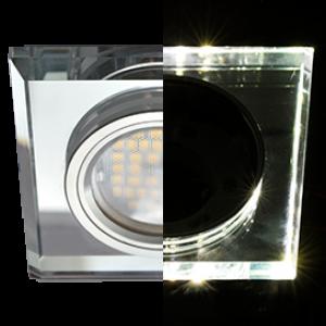Ecola MR16 LD1651 GU5.3 Glass Стекло с подсветкой Квадрат скошенный край Хром / Хром 25x90x90 (кd74)