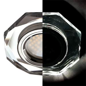 Ecola MR16 LD1652 GU5.3 Glass Стекло с подсветкой 8-угольник с прямыми гранями Хром / Хром 25x90 (кd74)