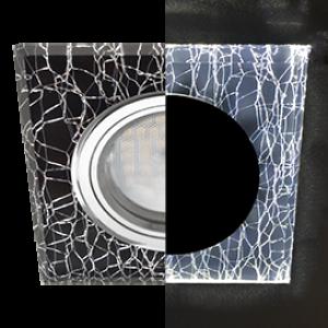 Ecola MR16 LD1651 GU5.3 Glass Стекло с подсветкой Квадрат скошенный край Колотый лед на черном / Хром 25x90x90 (кd74)