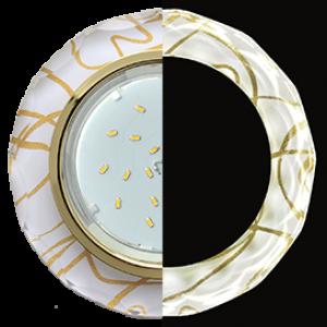 Ecola GX53 H4 LD5313 Glass Стекло Круг с вогнутыми гранями с подсветкой  золото - золото на белом 38x126 (к+)