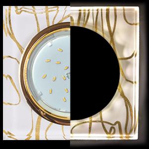 Ecola GX53 H4 LD5311 Glass Стекло Квадрат скошенный край с подсветкой  золото - золото на белом 38x120x120 (к+)