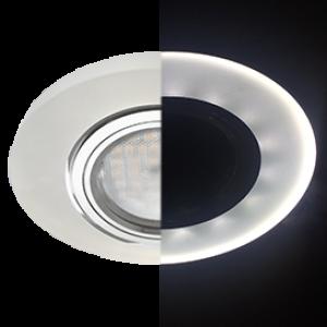 Ecola MR16 LD1650 GU5.3 Glass Стекло с подсветкой Круг Матовый / Хром 25x95 (кd74)