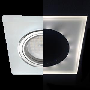 Ecola MR16 LD1651 GU5.3 Glass Стекло с подсветкой Квадрат скошенный край Матовый / Хром 25x90x90 (кd74)