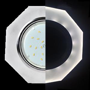 Ecola GX53 H4 LD5312 Glass Стекло 8-угольник с прямыми гранями с подсветкой  хром - матовый 38x133 (к+)