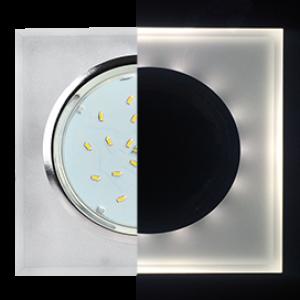 Ecola GX53 H4 LD5311 Glass Стекло Квадрат скошенный край с подсветкой  хром - матовый 38x120x120 (к+)