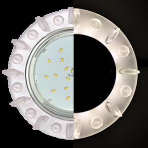 Ecola GX53 H4 LD5361 Glass Круг с квадр. матовыми стразами с подсветкой/фон матовый/центр.часть хром 52x120 (к+)