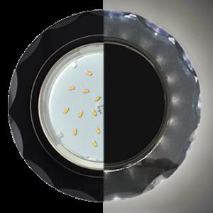 Ecola GX53 H4 LD5313 Glass Стекло Круг с вогнутыми гранями с подсветкой  черный хром - черный 38x126 (к+)