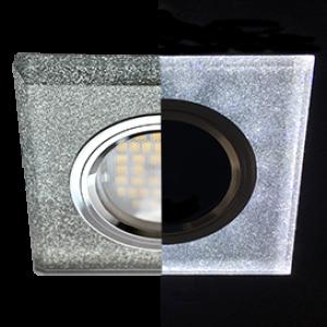Ecola MR16 LD1651 GU5.3 Glass Стекло с подсветкой Квадрат скошенный край Серебряный блеск / Хром 25x90x90 (кd74)